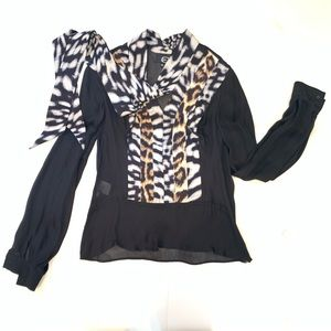 JUST CAVALLI Leopard Detail Blouse Sz 40